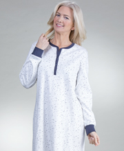 Button Front Calida 100% Cotton Long Sleeve Nightgown in Star White