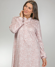 Calida Cotton Knit Partial Button Front Long Sleeve Nightgown in Vintage Rose Paisley
