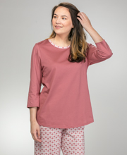 Capri Pajama Set - Calida 3/4 Sleeve 100% Cotton Knit PJs - Deco Rose
