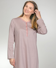Short Calida Cotton Long Sleeve Button-Front Nightgown in Vintage Rose
