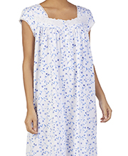 Short Sleeve Eileen West Cotton Knit Nightgown in Royal Blossom