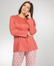Calida 100% Cotton Knit Long Sleeve Pajamas in Cedar Sands