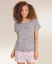 Kensie Short Sleeve and Boxer Pajama Set in Gray Stripes