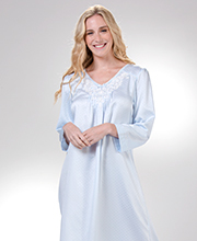 Miss Elaine Brushed Back Satin Lace Applique Long Nightgown in Dotted Blue