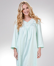 Long Brushed Back Satin Nightgown by Miss Elaine with Lace Applique in Dotted  Mint