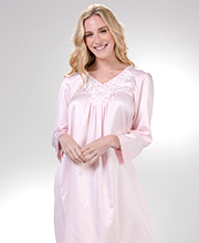 Nightgowns by Miss Elaine - Brushed Back Satin Lace Applique Long in Dotted Pink
