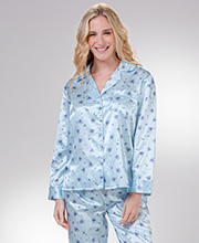KayAnna Brushed Backed Satin Cardigan Style Pajamas in Blue Rosebuds