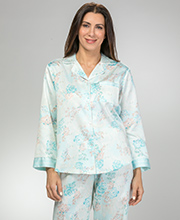 Brushed Back Satin Pajamas - Miss Elaine PJs In Aqua Floral