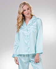 Pajamas for Women - Miss Elaine Brushed Back Satin in Aqua Stripe