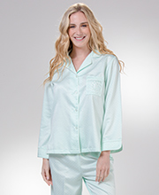 Brushed Back Satin Pajamas - Miss Elaine Long Sleeve in Dotted Mint
