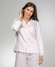 Brushed Back Satin Miss Elaine Pajamas in Pinky Peach Stripe
