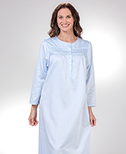 Brushed Back Satin KayAnna Round Neck Long Nightgown - Blue