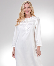 KayAnna Round Neck Brushed Back Satin Nightgown in Ivory