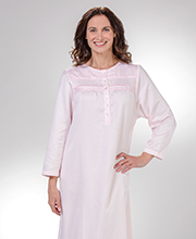 Round Neck Brushed Back Satin Nightgown by KayAnna in Pink