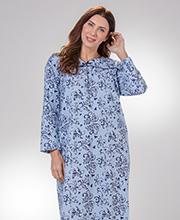 KayAnna Cotton Flannel Long Sleeve Nightgown in Blue Swirl