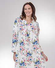 KayAnna Flannel Nightgowns -  Long Sleeve Cotton in Floral Spray