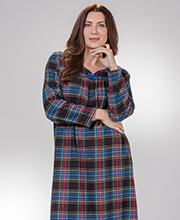 KayAnna Cotton Flannel Long Sleeve Nightgown in Midnight Plaid