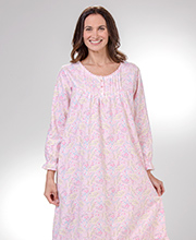 La Cera Cotton Flannel Nightgowns - Pintucked Gown in Blush Floral