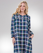 La Cera Cotton Flannel Nightgown - Long Sleeve in Woodland Plaid