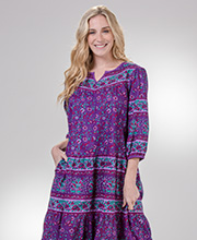 La Cera 3/4 Sleeve Cotton Muumuu Lounger Dress in Plum Isle