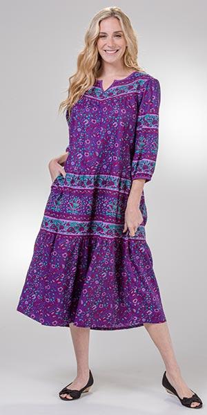 Plus Dresses - La Cera 3/4 Sleeve Cotton Muumuu Lounger in Plum Isle