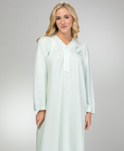 Miss Elaine Plus Cuddleknit Nightgowns - V-Neck Long Gown in Sage