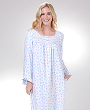 "Long Sleeve Eileen West Cotton/Rayon ""Feather Flannel"" Nightgown in Early Floral"