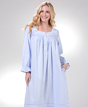 Flannel Nightgowns by Eileen West - Long Sleeve in Divine Peri