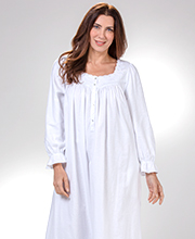 Eileen West Nightgowns - Flannel Cotton Long Sleeve in Divine White