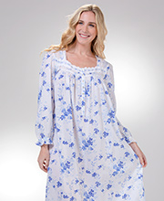 Long Sleeve Eileen West Cotton Lawn Nightgown in Blue Wonderland