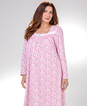Nightgowns by Eileen West - Long Sleeve Cotton Knit in Chili Vine