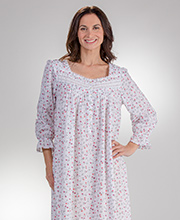 Long Sleeve Nightgowns - Eileen West Cotton Lawn in Rose Love
