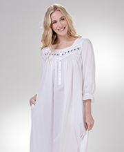 Eileen West Nightgown - Long Sleeve Cotton Lawn in White Occasion