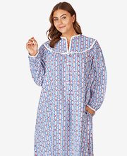 Lanz V-Neck Long Flannel Nightgown in Sweetheart Tyrolean