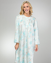 Long Miss Elaine Pintucked Brushed Back Satin Nightgown in Aqua Floral