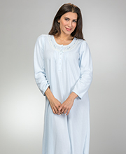 Miss Elaine Cuddleknit Long Round Neck Pintucked Nightgown in Blue