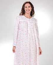 Long Miss Elaine Round Neck Cuddleknit Nightgown in Peach Fleur