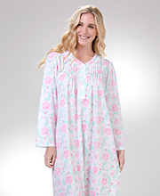 V-Neck Miss Elaine Pintucked Cuddleknit Long Gown in Sherbet Floral