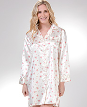 Kayanna Brushed Back Satin Long Sleeve Nightshirt in Ivory Rosebuds