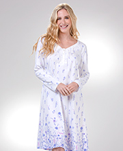 Carole Hochman Long Sleeve 100% Cotton Knit Nightgown in Lilac Floral
