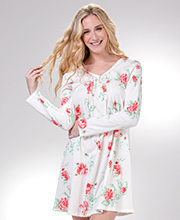 Cotton Knit Sleep Shirts - Carole Hochman Long Sleeve Short Gown in Imperial Blossom
