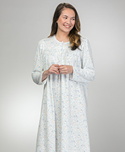 Miss Elaine Cuddleknit Round Neck Long Nightgown in Blue Fleur