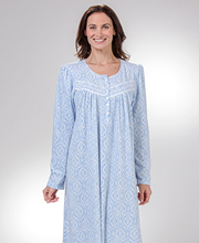 Lightweight Fleece - Aria Waffle Knit Fleece Nightgown in Blue Charms