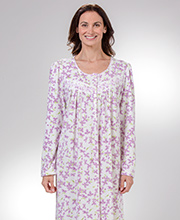 Aria Lightweight Fleece - Waffle Knit Fleece Nightgown in Lilac Floral