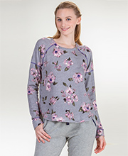 Kensie Long Sleeve Rayon/Poly Top  in Grey Floral