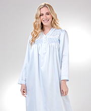 Long Brushed Back Satin by Miss Elaine - Smocked V-Neck Nightgown in Dotted Blue