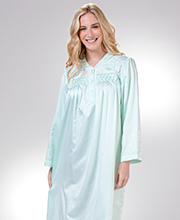 Brushed Back Satin Miss Elaine Long Smocked V-Neck Nightgowns in Dotted Mint