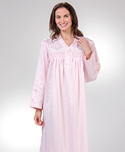 Miss Elaine Smocked V-Neck Long Brushed Back Satin in Dotted Pink