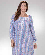 Lanz Flannel Sleepwear - Square Neck Long Nightgown in Sweetheart Tyrolean