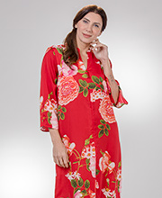 """N"" by Natori Loungers - V-Neck Zip Front Poly Long Kaftan - Arcadia Rose"